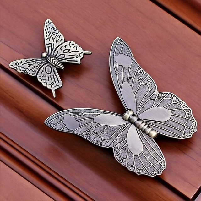1pcs Vintage Zinc Alloy Bronze Beautiful Butterfly Door Handles ...