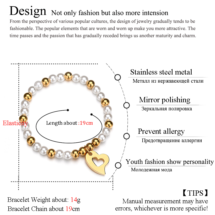 HOBBORN Office Simulated-pearl Beaded Bracelets Stainless Steel Beads Bangles Hollow Heart Charm Bracelet Women Wedding Jewelry