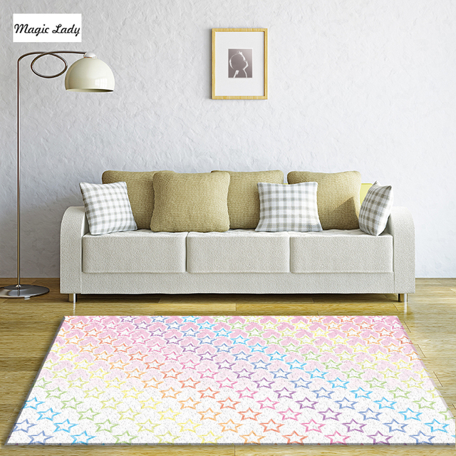 Teppich Stern Wohnzimmer Schlafzimmer Regenbogen Farbe Galaxy Farbverlauf  Helle Teen Mädchen Kinderzimmer Dekor Print Rosa Blau