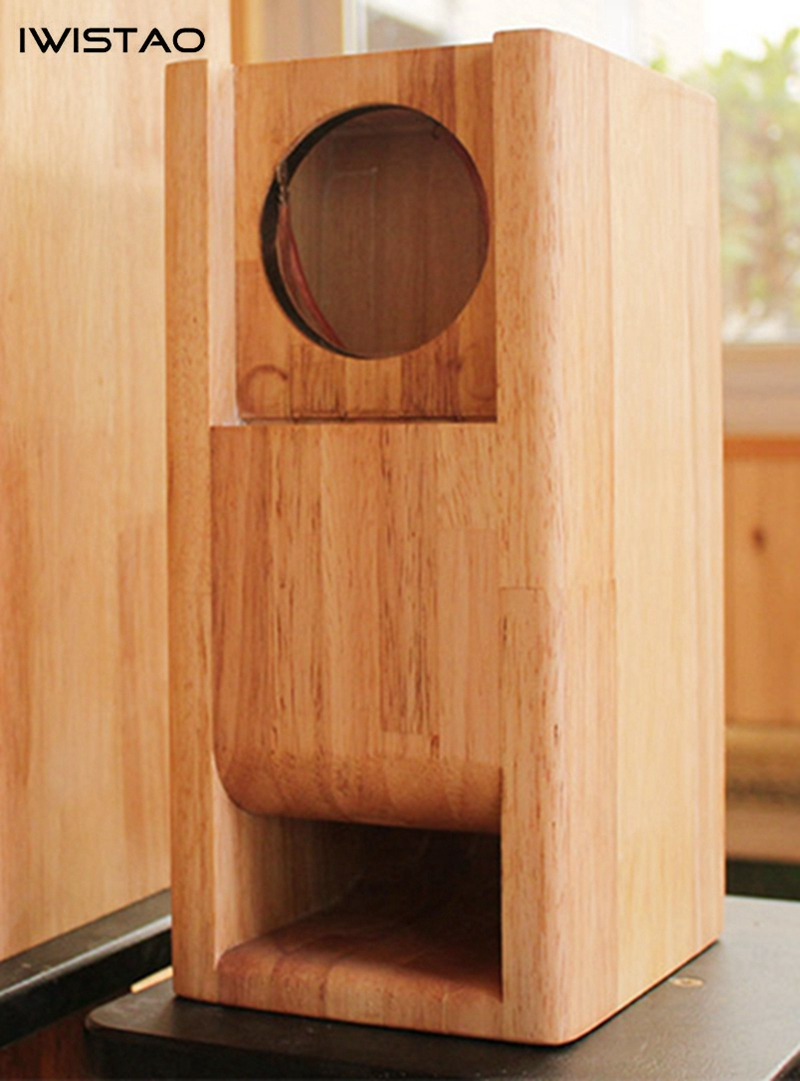 IWISTAO HIFI 3 Inches Full Range Speaker Empty Cabinet 1 Pair Finished Wood Labyrinth Structure For Tube Amplifier