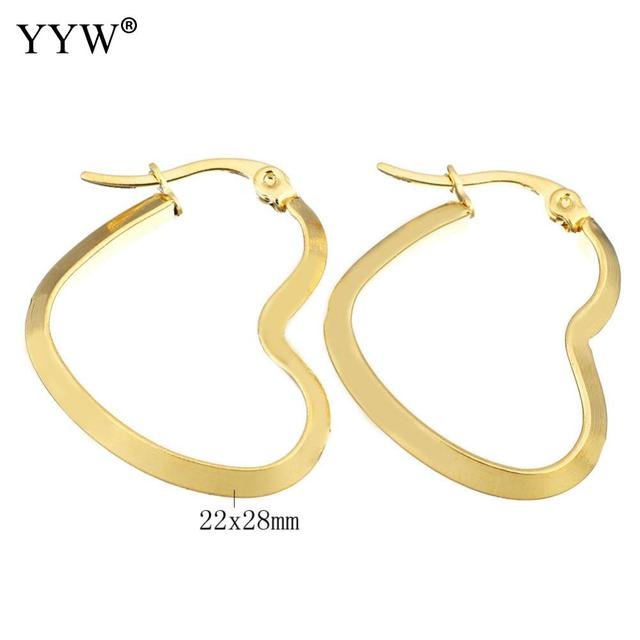 Yyw New Punk Fashion Gold Color Stainless Steel Jewelry Ear Loops Earring Bridal Wedding Party Heart
