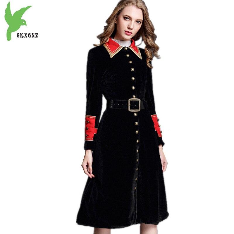 Fashion Gold velvet Trench Coats Female Autumn Winter Long section Black Velvet Outerwear Belt Slim Women Windbreaker OKXGNZ1368