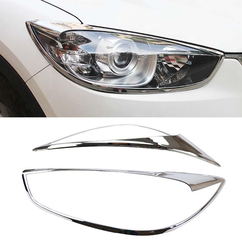 Prix pour Chrome Tête Avant Lumière Couvercle De La Lampe Trim Fit Pour 2012 2013 2014 2015 2016 Mazda CX-5 CX5 Phare Moulage Garnish Surround Cadre