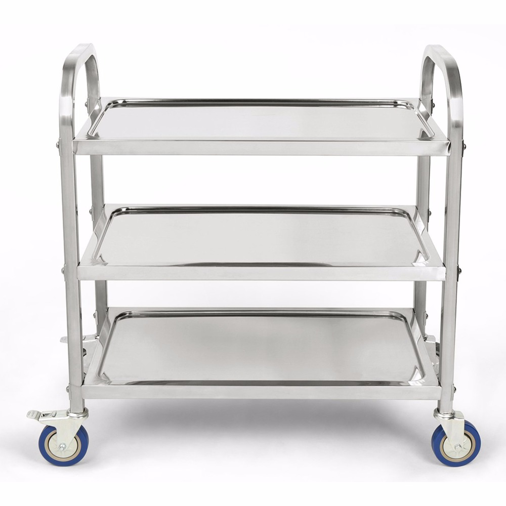 3 Tier carrito cocina Hotel Restaurant kitchen Trolley Clearing Trolley Large 90cmx50cm Stainless Steel Catering kitchen cart Lahore