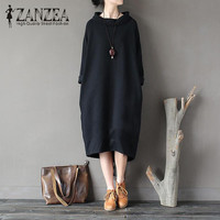 Plus Size ZANZEA Fashion Autumn Turtleneck Long Sleeve Long Sweatshirt Dress Women Casual Solid Loose Baggy