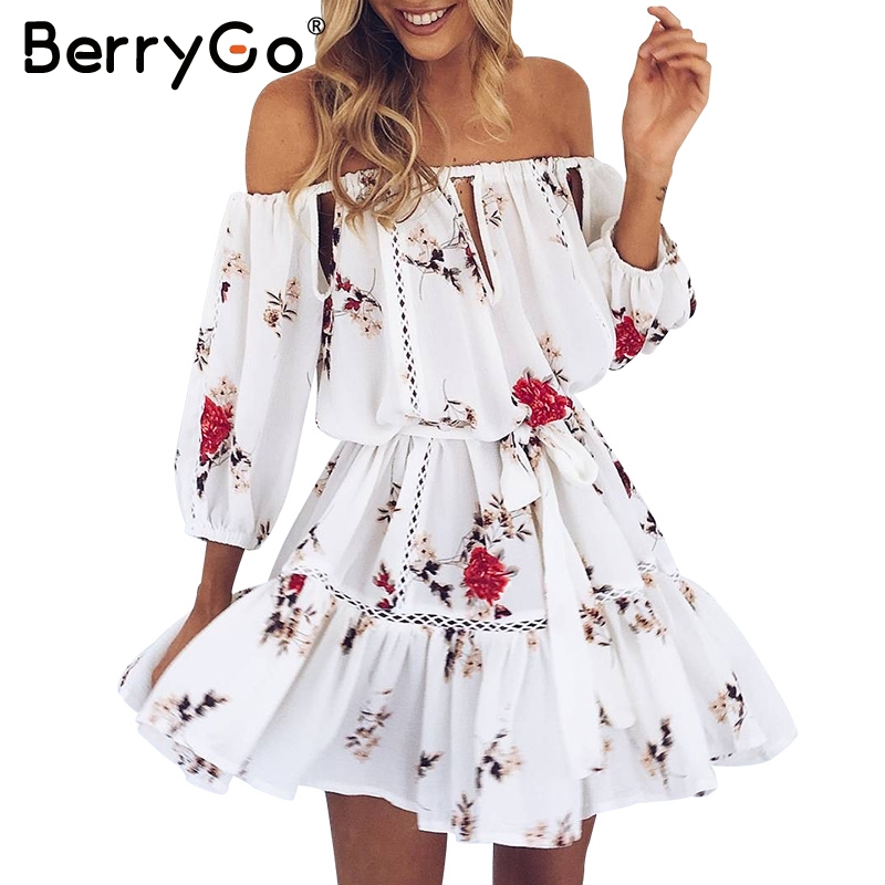 Berrygo off shoulder hollow out summer dress women casual beach dress blanca flo