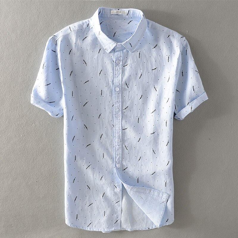 Мужские молодежные свободные лен с коротким рукавом рубашки мужчины перо печатных летний отдых джокер конопли материал выстроились одежды