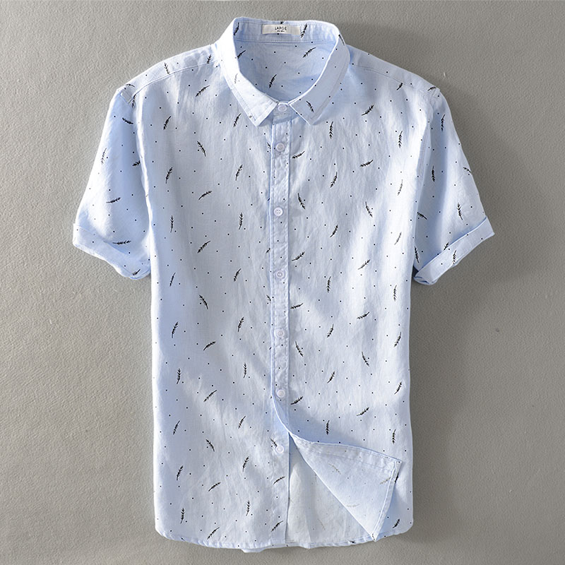 Men youth loose flax short sleeve shirt male feather printed summer leisure joker hemp material lined clothes