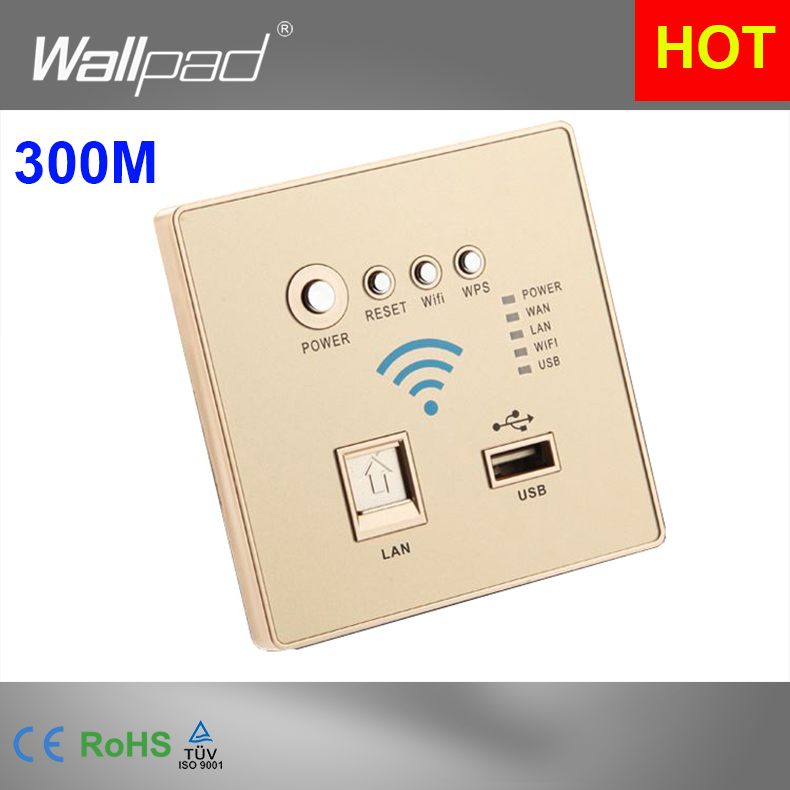 300M Rate Gold WIFI USB Charging WiFi Socket, USB Socket Wall <font><b>Embedded</b></font> <font><b>Wireless</b></font> AP Router Repeater Phone Wall <font><b>Charger</b></font>