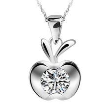 Korean Style Apple Shaped Rhinestone Inlay Pendant Silver color Necklace Without Chain Charming Jewelry(China)