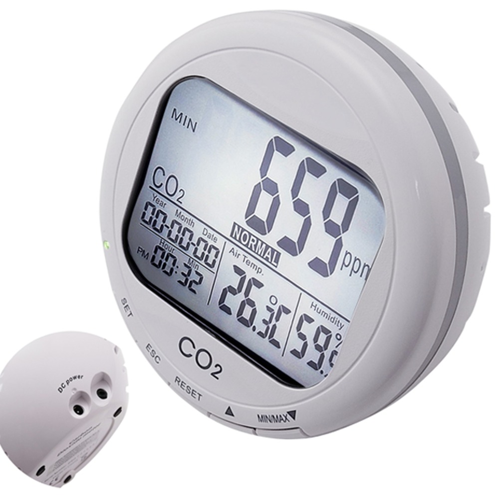 Carbon Dioxide Datalogger Indoor Air Quality Monitor Temperature Humidity 9999ppm CO2 Sensor RH Clock