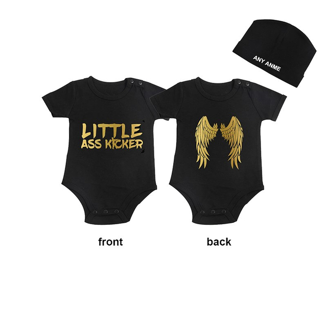 cf3592a9752 Culbutomind LITTLE ASS KICKER Black Baby Grow Jumpsuit Baby First Birthday  Shower Gift Jumpsuit Outfits with Custom Cap