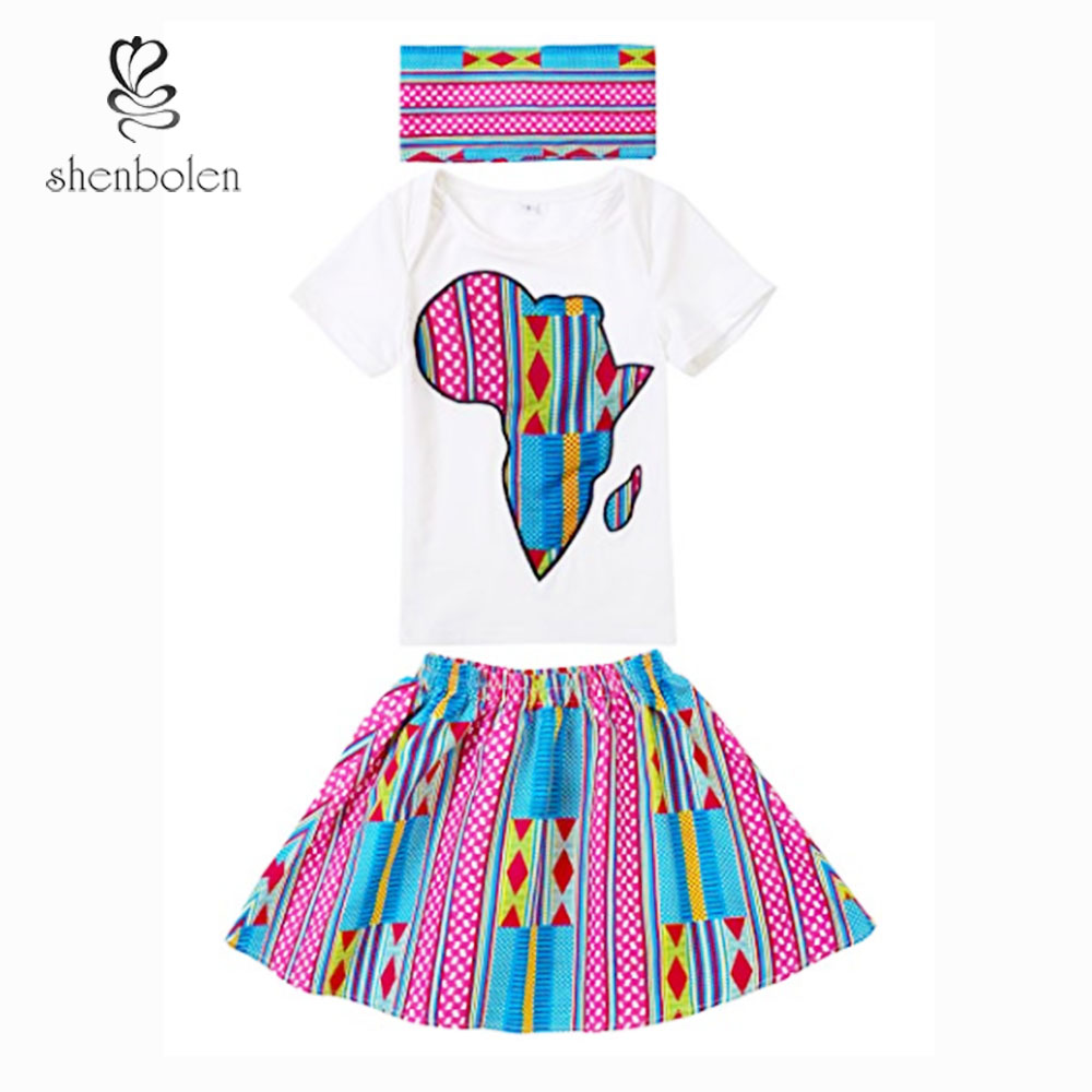 African Baby Girl Clothing Ankara Baby Cute T-shirt+ Skirt +Headband Set 100% Cotton Kids Sweet Beautiful Clothes