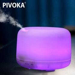 PIVOKA 500 мл ультразвуковой увлажнитель воздуха Air Aroma Essentiel масла ароматерапия машина тумана 7 цветов изменить светодиодный свет для дома 168