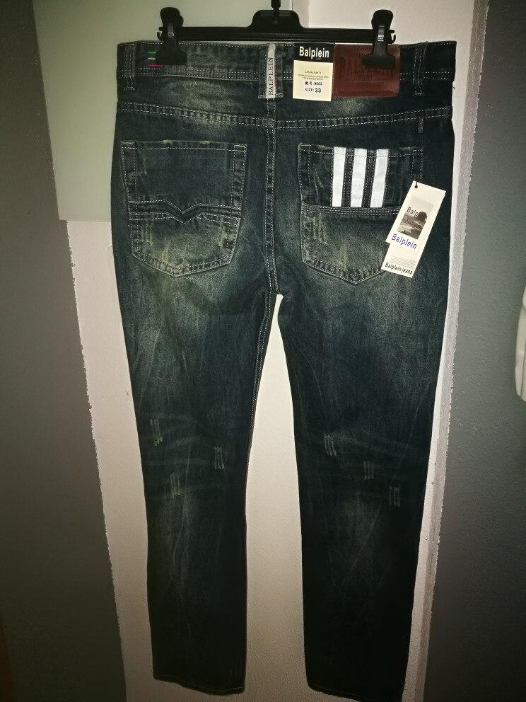 Известный Balplein брендовые модные дизайнерские джинсы Для мужчин прямые темно-голубой цвет с принтом Для мужчин s джинсы Рваные джинсы, 100% хлопок