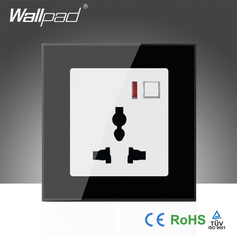 Hot Sales EU  Wallpad Black Glass LED 110~250V Phone Wifi Wireless Remote Control Universal Power Wall Socket,Free Shipping new arrival wallpad white glass led eu 110 250v app wifi wireless universal remote control power wall plug socket free shipping