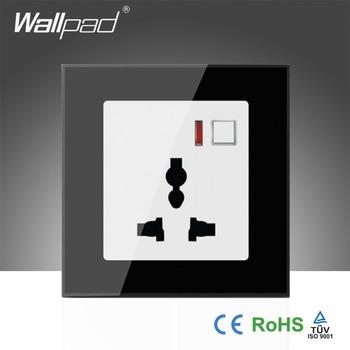 Hot Sales EU  Wallpad Black Glass LED 110~250V Phone Wifi Wireless Remote Control Universal Power Wall Socket,Free Shipping