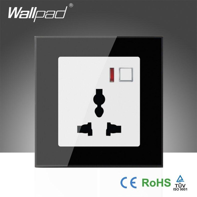 Offres spéciales EU Wallpad LED en verre noir 110 ~ 250 V téléphone Wifi sans fil télécommande universelle prise murale de puissance, livraison gratuite