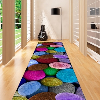Else Green Yellow Blue Brown Pebble Stones 3d Print Non Slip Microfiber Washable Long Runner Mat Floor Mat Rugs Hallway Carpets