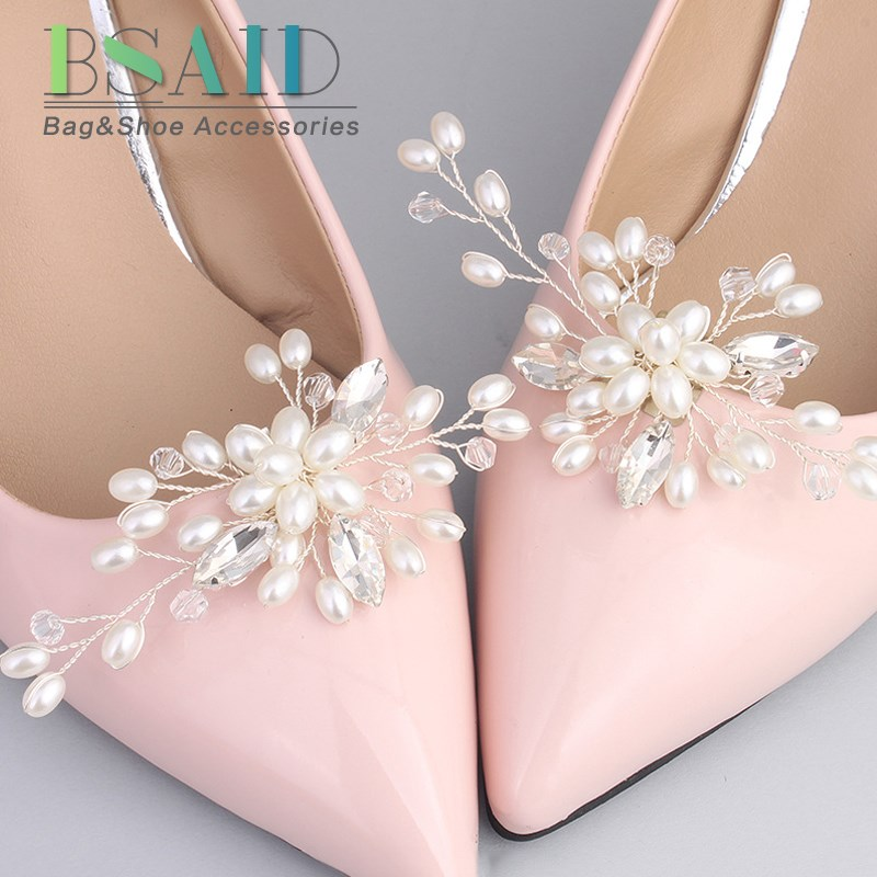 BSAID 1 Pair Rhinestone Pearl Shoe Clips,Crystal Charm Flower Decorative Shoe Clips Fashion Wedding Shoes Accessories Decoration eykosi fashion gold tone rhinestone shoe clips flower glass wedding diamante sparkle