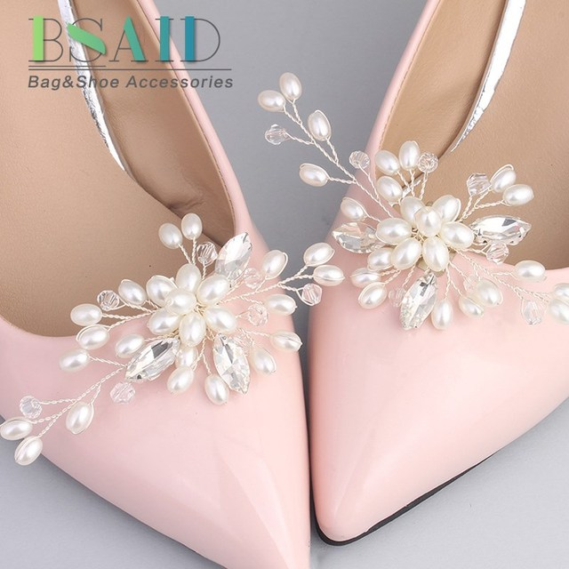 8338d7748 BSAID 1 Pair Rhinestone Pearl Shoe Clips