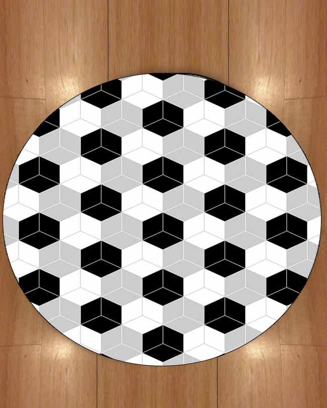 Else Black Gray White Cubes Boxes Geometric Nordec 3d Print Anti Slip Back Round Carpets Area Rug For Living Rooms Bathroom
