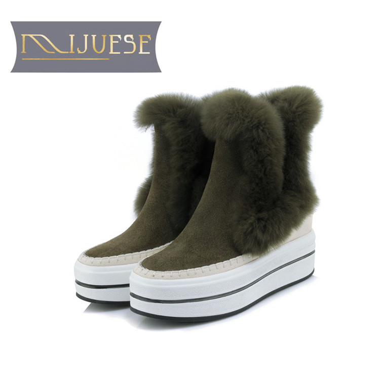 MLJUESE 2019 women ankle boots cow Suede rabbit hair slip on winter warm short plush fur female platform flat boots snow boots цены онлайн