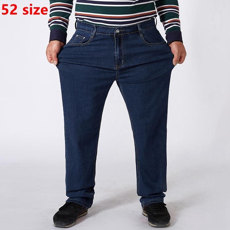 Oversized Jeans Men Plus Size  Jeans High Waist Plus Fertilizer To Increase Men's Elastic 150kg 52 50 48 Size