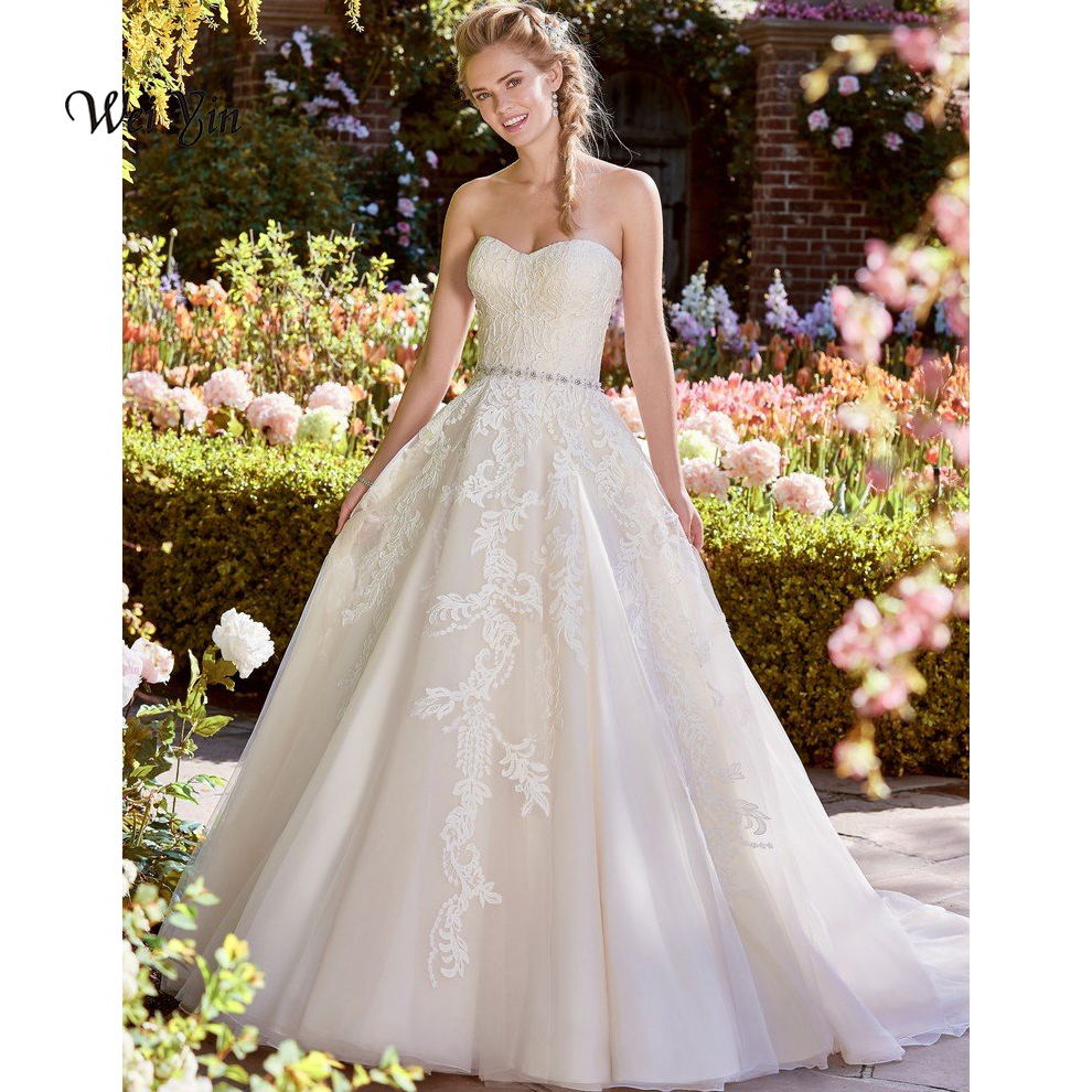 weiyin Robe De Mariage A Line Appliques Luxury Lace White Crystal Wedding Dress Custom Made Vestido De Noiva