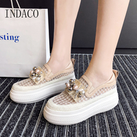 Women Shoes Sneakers Women Platform Pearl Transparent Upper Leather Casual Shoes Women 6cm 2019