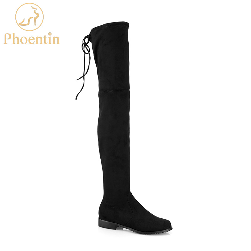 black overknee boots flat heels slip-on long boots for women round toe stretchable bota over the knee solid woman shoes PH010