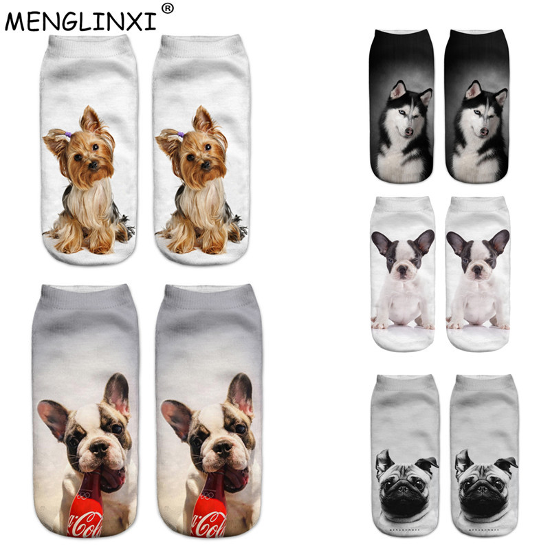 Socks Dreamlikelin 20 Styles 1 Pair 3d Kawaii Dogs Cats Corgi Bulldog Woman Socks Cute Animal Unisex Ankle Sock