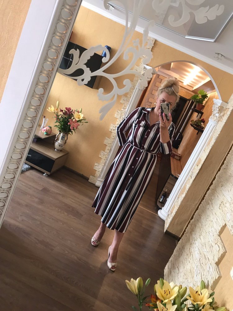 Office Lady Turn Down Collar Button Lace Up Long Shirt Dress Women Autumn Spring Long Sleeve Stripe Maxi Dresses photo review