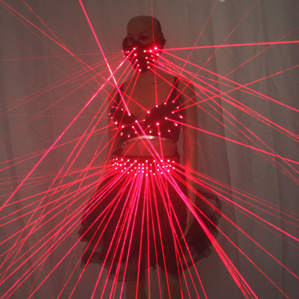 Sexy Lady Clothing Laser Bra and Girdle Laser Red Laser Mask For Night Club Led luminous Sexy Women Suit Laser ShowSexy Lady Clothing Laser Bra and Girdle Laser Red Laser Mask For Night Club Led luminous Sexy Women Suit Laser Show