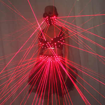 Sexy Lady Clothing Laser Bra and Girdle Laser Red Laser Mask For Night Club Led luminous Sexy Women Suit Laser Show - DISCOUNT ITEM  25% OFF All Category