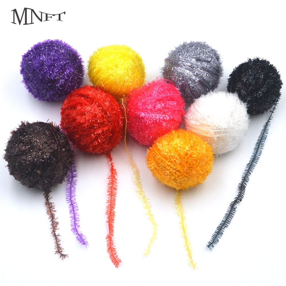 MNFT 9 Colors450m/Lot Crystal Flash Line Tinsel Chenille for Fly Tying Yarn Fibers Fishing Flies Streamer Lure Making