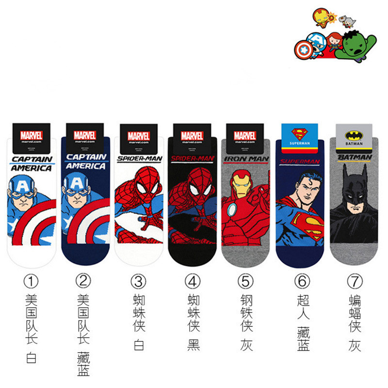 The Avengers Superman   socks   Spiderman Captain America cosplay cartoon chaussettes homme Fashion casual personality Calcetines