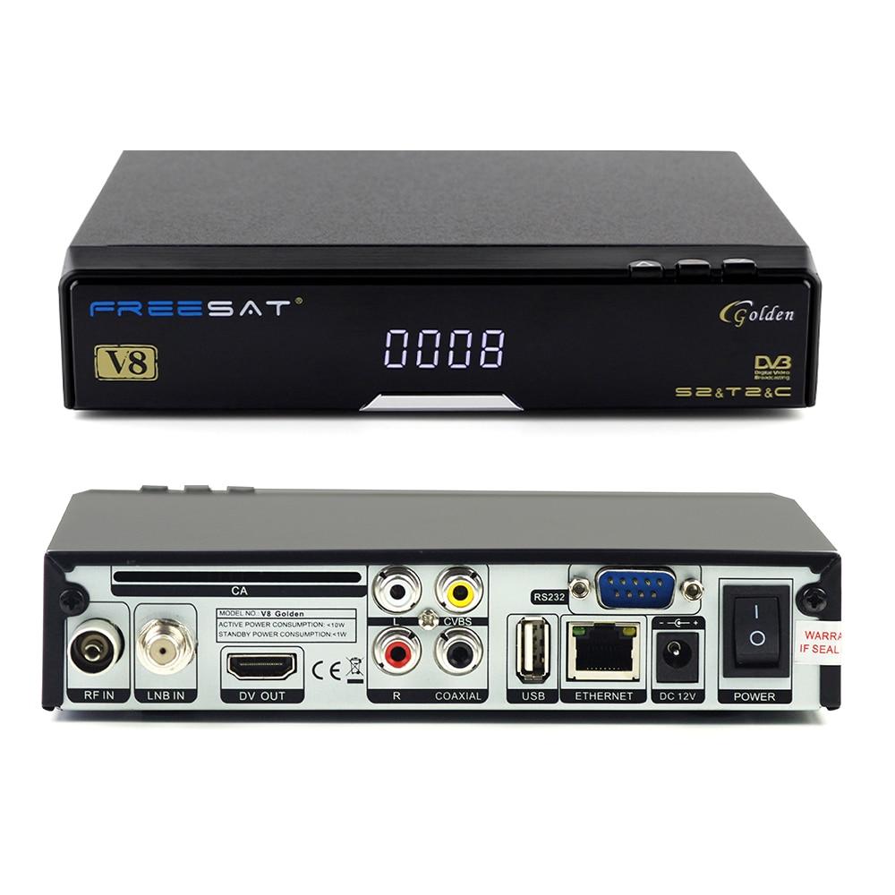 FREE SAT V8 Goledn Satellite Receiver DVBS2 DVBT2 DVBC Support IPTV WIFI WEBTV HD Digital mpeg4 h.264 TV BOX Support DLNA yunlisten p7 wifi music receiver support airplay dlna