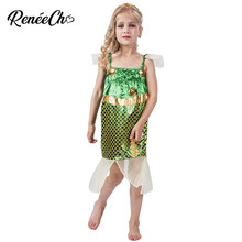 Halloween Costume For kids Mermaid Costume For Girls Cosplay Costume Toddler Green Beach Little Mermaid Princess Dress Cosplay(China)