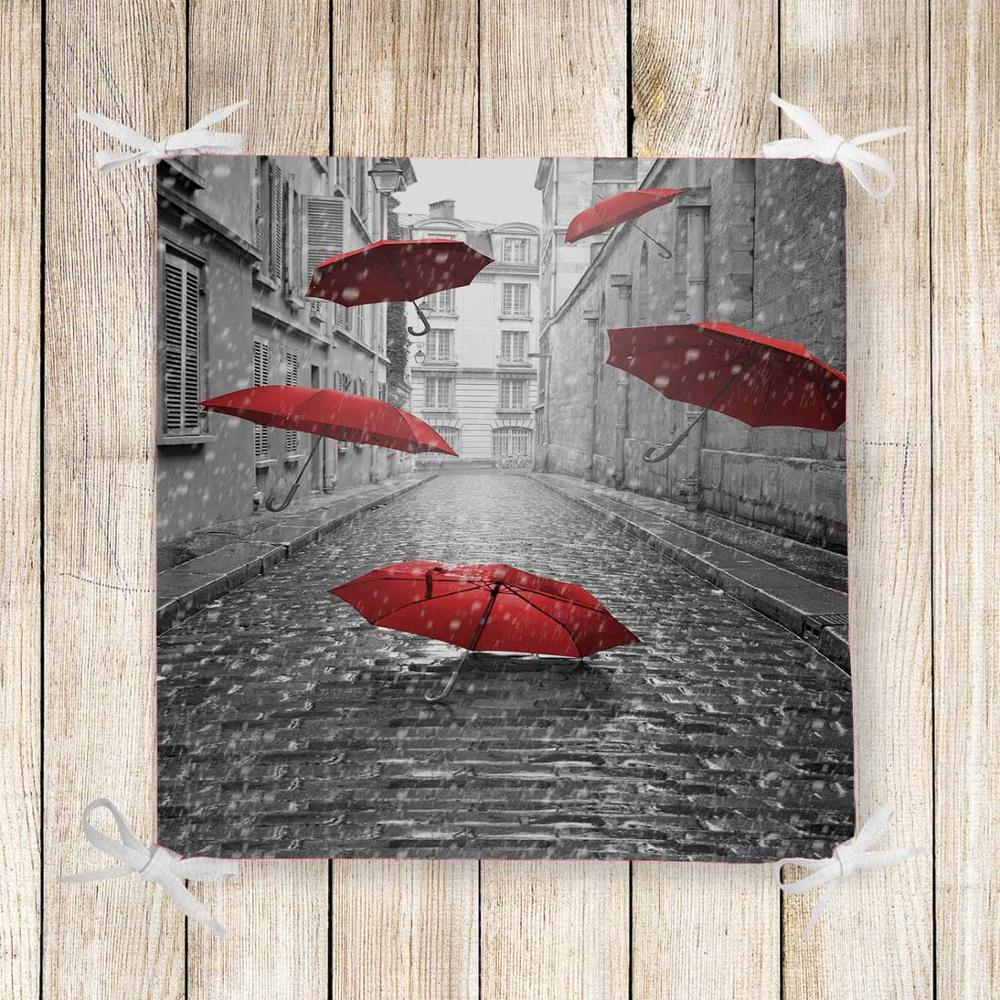 Else Gray Vintage Street Red Umbrella 3d Print Square Chair Pad Seat Cushion Soft Memory Foam Full Lenght Ties Non Slip Washable