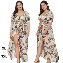 6xl V neck Split boho beach dress Leaves green and off white Floral long sexy hot summer maxi plus size
