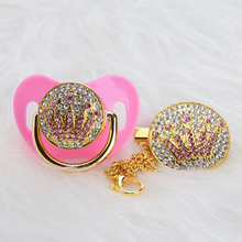 MIYOCAR bling pink crown rhinestone Baby Pacifier/ Nipples /Dummy /cocka /chupeta baby gift babyshower APCG