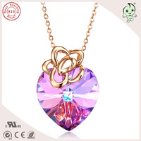 Top Quality Beautiful Rose Gold Colorful Lavender Purple Heart Famous Crystals Pendant 925 Real Silver Necklace