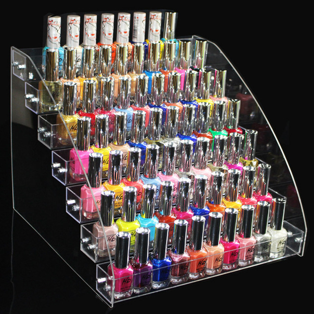 Fashion Clear 7 Layers Nail Polish Rack Cosmetic Organizer Lipstick Holder Makeup Storage Shelf Nail Tools Display Container