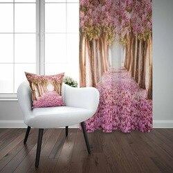 Outra Árvore Marrom Roxo Flores Floral Amor Estrada Caminho 3D Imprimir Sala Quarto Cortina Painel Da Janela Combinar Presente Travesseiro caso