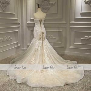 Image 5 - Lover Kiss Vestido De Noiva 2020 Luxury Lace Mermaid Wedding Dress Ceremonial Attire Beaded Pearls Africa Bridal Gown Corset