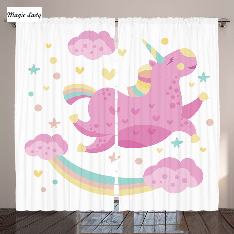 Baby Curtains Living Room Bedroom Unicorn Star Rainbow Cartoon Kids ...