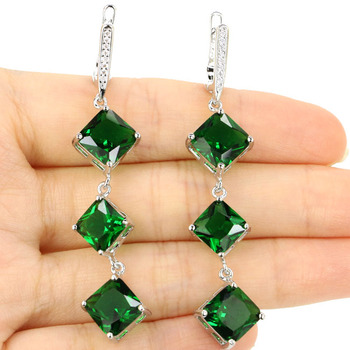 Stunning Green Emerald Woman's Party 925 Silver Earrings 62x13mm