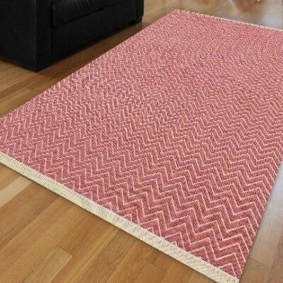 Else Pink White Wave Bias Lines Geometric Authentic Ikat Nordec Anti Slip Kilim Washable Decorative Plain Paint Woven Carpet Rug