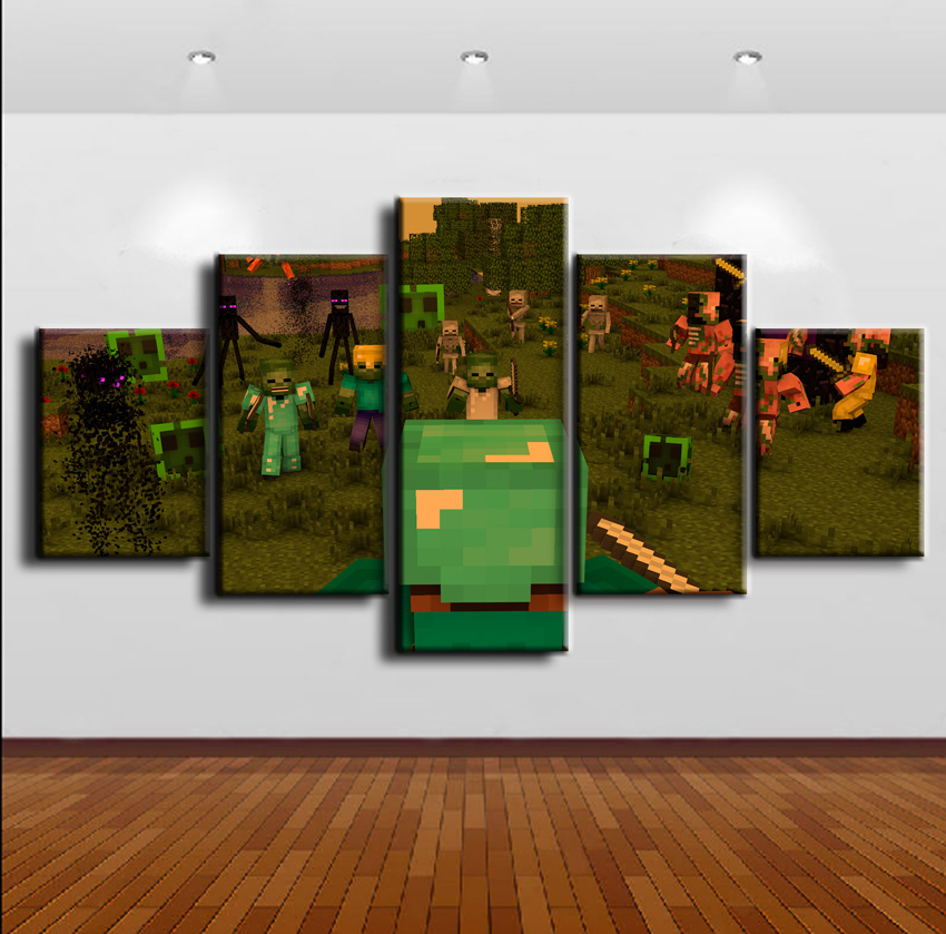 Home Decor Game Poster 5 Pieces Minecraft Modular Pictures Painting Wall Art Canvas Printed Modern Artwork Wall Decor Pictures in Painting Calligraphy from Home Garden